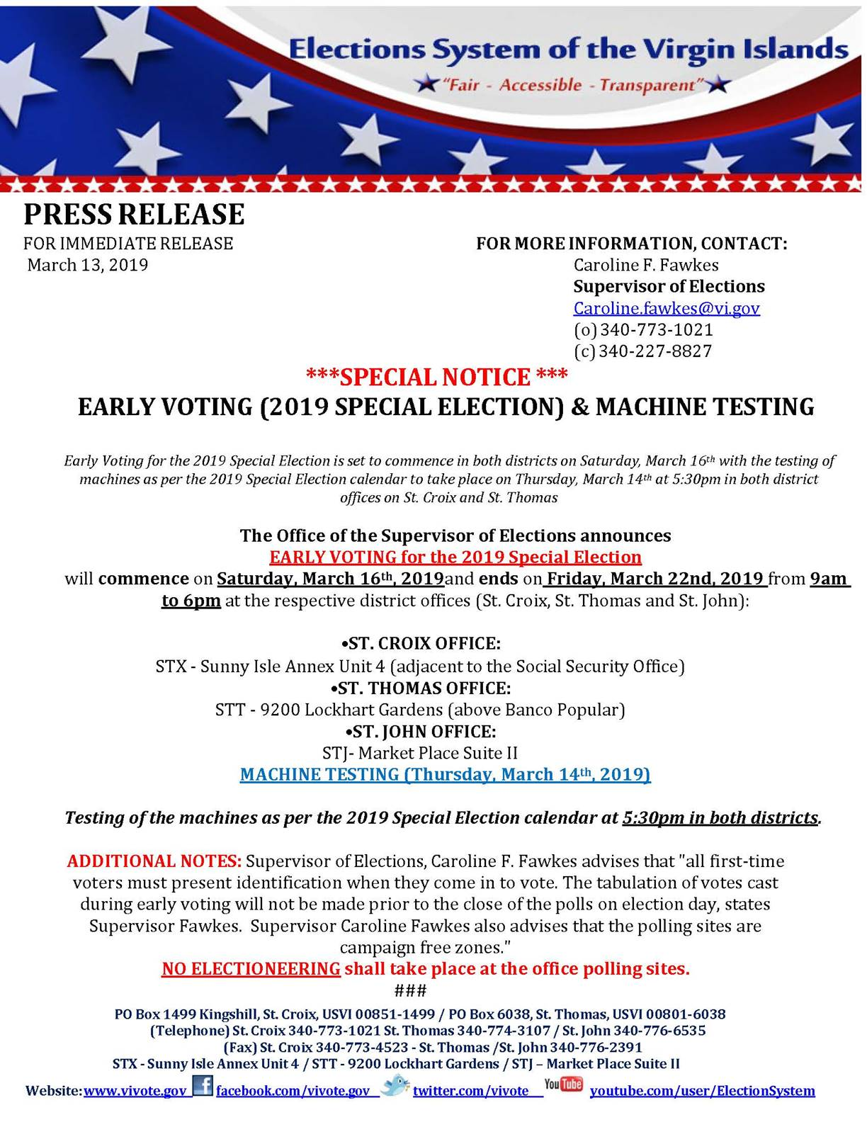 Early voting for Special Election begins this Saturday