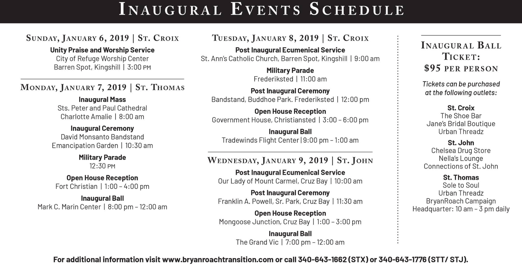 Inauguration Schedule Of Events 2019 Transition begins: Bryan Roach inauguration schedule – CBS USVI